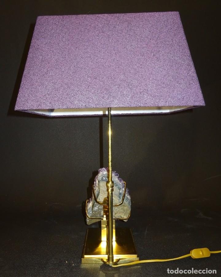 Vintage: Lámpara de mesa Willy Daro con piedra de amatista- Bélgica, 70s - Foto 43 - 194879873