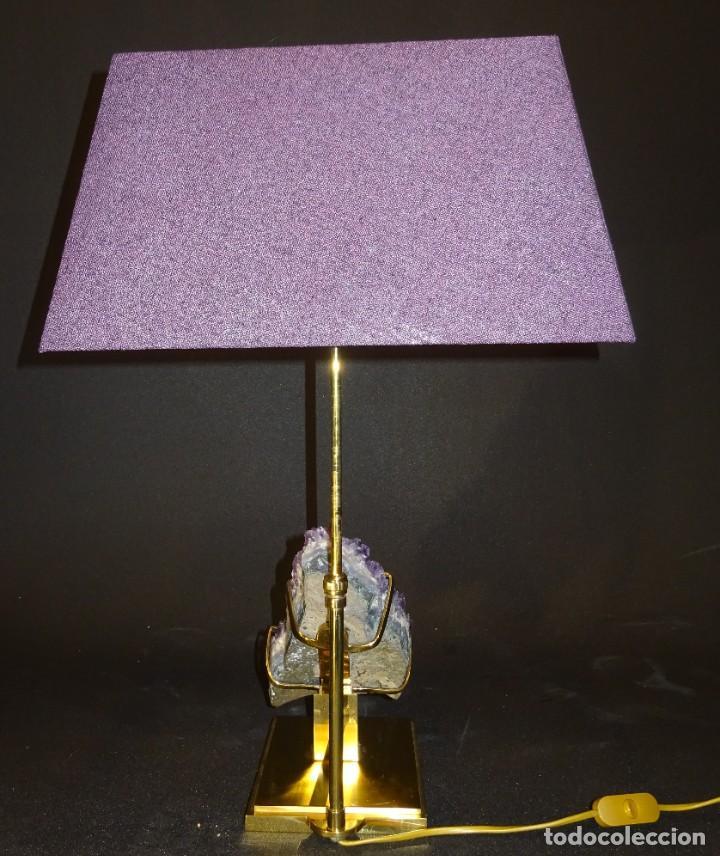 Vintage: Lámpara de mesa Willy Daro con piedra de amatista- Bélgica, 70s - Foto 44 - 194879873