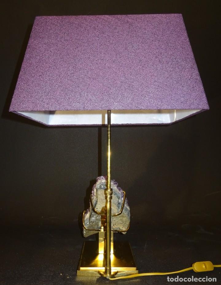 Vintage: Lámpara de mesa Willy Daro con piedra de amatista- Bélgica, 70s - Foto 45 - 194879873