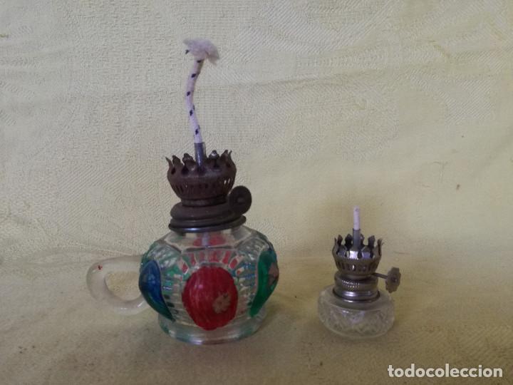LOTE DE 2 QUINQUÉS DE CRISTAL Y METAL, A IDENTIFICAR, HONG KONG (Vintage - Lámparas, Apliques, Candelabros y Faroles)