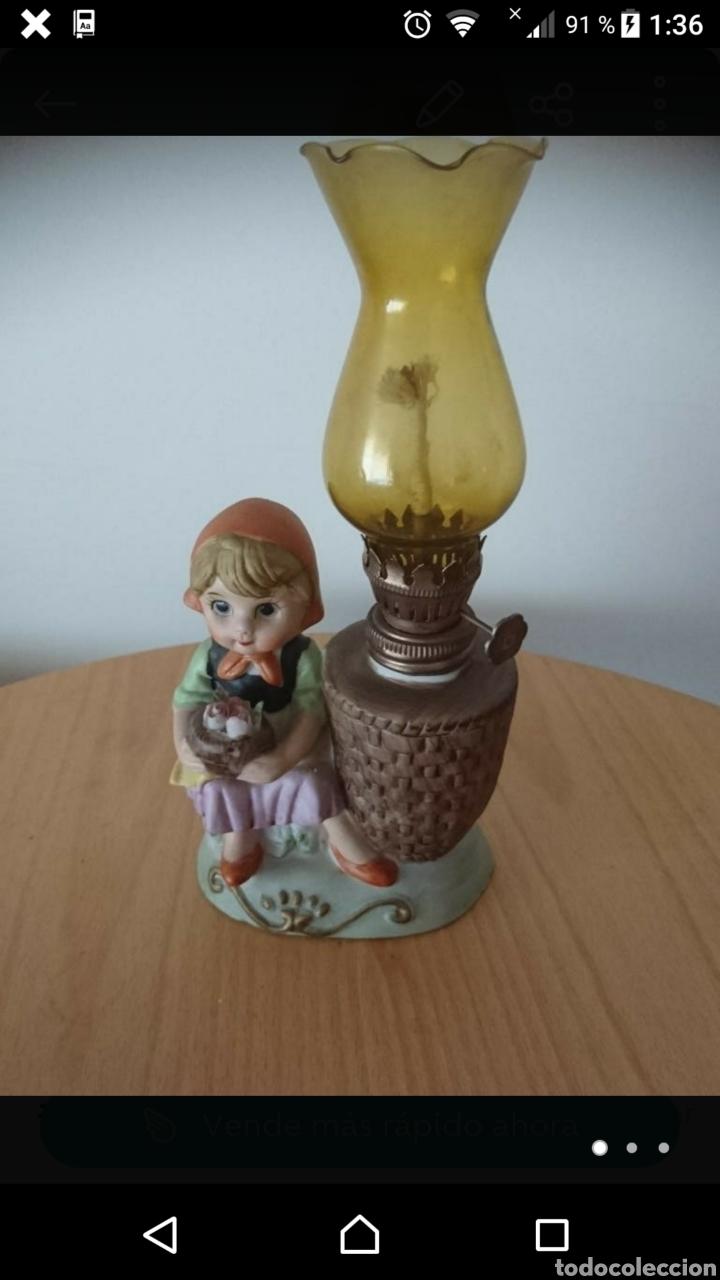 QUINQUÉ ANTIGUO CON FIGURA. (Vintage - Lámparas, Apliques, Candelabros y Faroles)