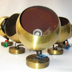 Vintage: SUPER LOTE LAMPARAS FASE EYE BALL EN DORADO ESTILO SPACE AGE. Lote 194972246