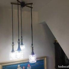 Vintage: ESPECTACULAR LAMPARA DE TECHO VINTAGE 5 PUNTOS DE LUZ CRISTAL DE MURANO. Lote 195087388