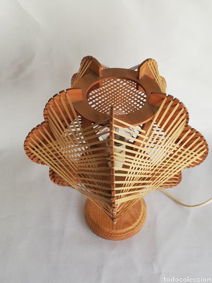 Vintage: Lampara de mesa Nordica en madera y rafia vintage años 70 - Foto 2 - 195184962