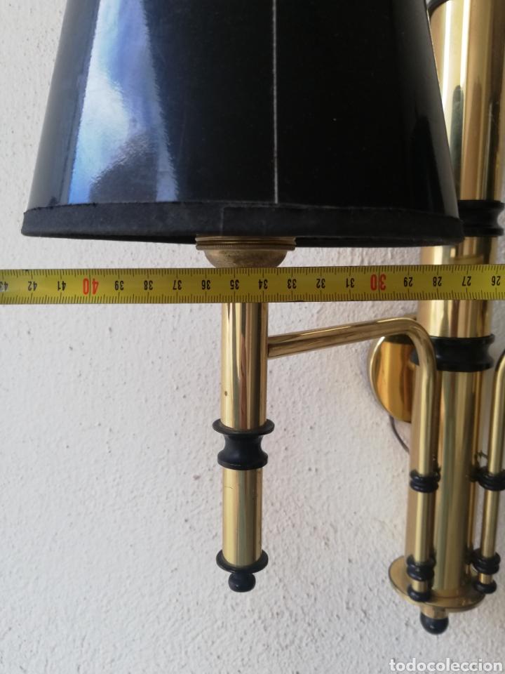 Vintage: Elegante gran pareja aplique lampara de pared en laton o bronce dorado y negro - Foto 9 - 195189527