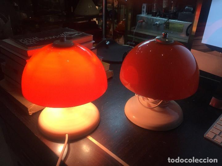 Vintage: PAREJA (2) DE LAMPARAS DE MESA TIPO SETA T-PONS , AÑOS 70 - Foto 4 - 195320703