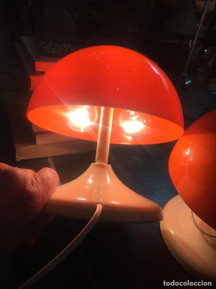 Vintage: PAREJA (2) DE LAMPARAS DE MESA TIPO SETA T-PONS , AÑOS 70 - Foto 5 - 195320703