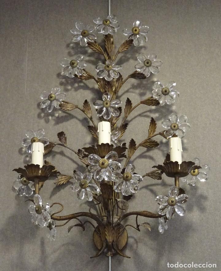Vintage: Apliques de forja franceses 60s, cristal tallado - Foto 4 - 195323351