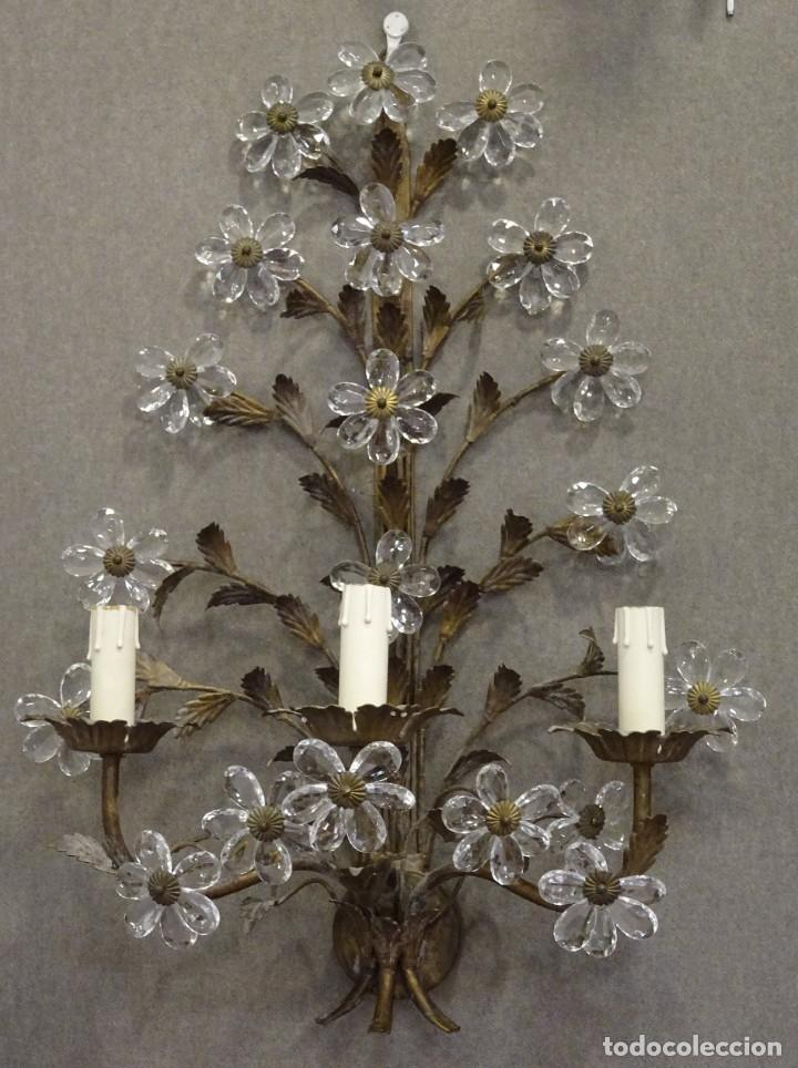 Vintage: Apliques de forja franceses 60s, cristal tallado - Foto 6 - 195323351