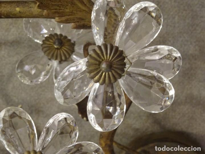 Vintage: Apliques de forja franceses 60s, cristal tallado - Foto 8 - 195323351