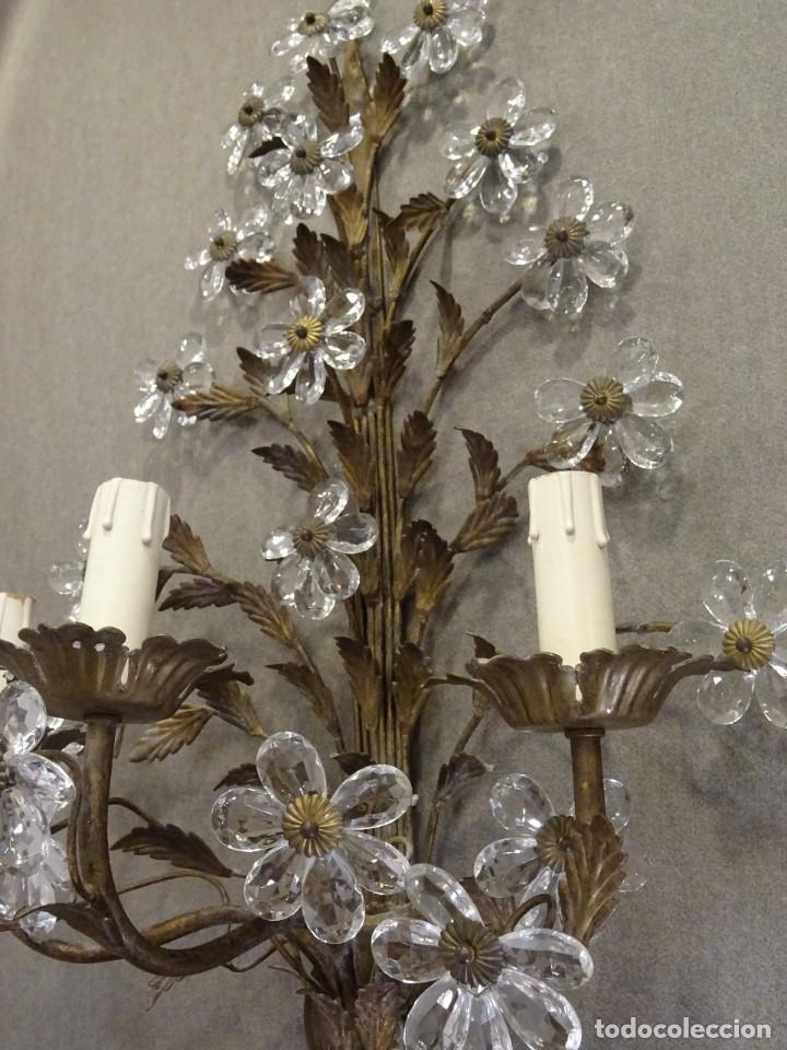 Vintage: Apliques de forja franceses 60s, cristal tallado - Foto 9 - 195323351