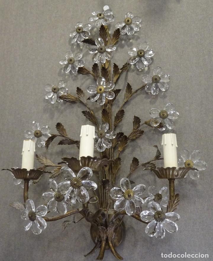 Vintage: Apliques de forja franceses 60s, cristal tallado - Foto 10 - 195323351