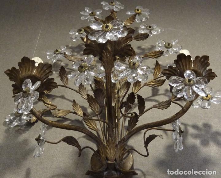 Vintage: Apliques de forja franceses 60s, cristal tallado - Foto 11 - 195323351