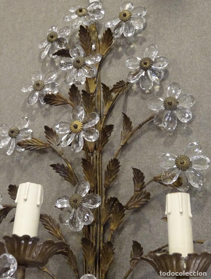 Vintage: Apliques de forja franceses 60s, cristal tallado - Foto 12 - 195323351
