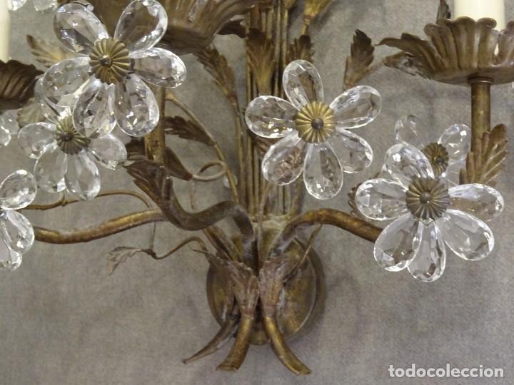 Vintage: Apliques de forja franceses 60s, cristal tallado - Foto 13 - 195323351