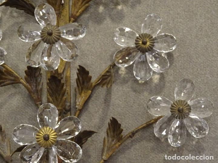 Vintage: Apliques de forja franceses 60s, cristal tallado - Foto 15 - 195323351
