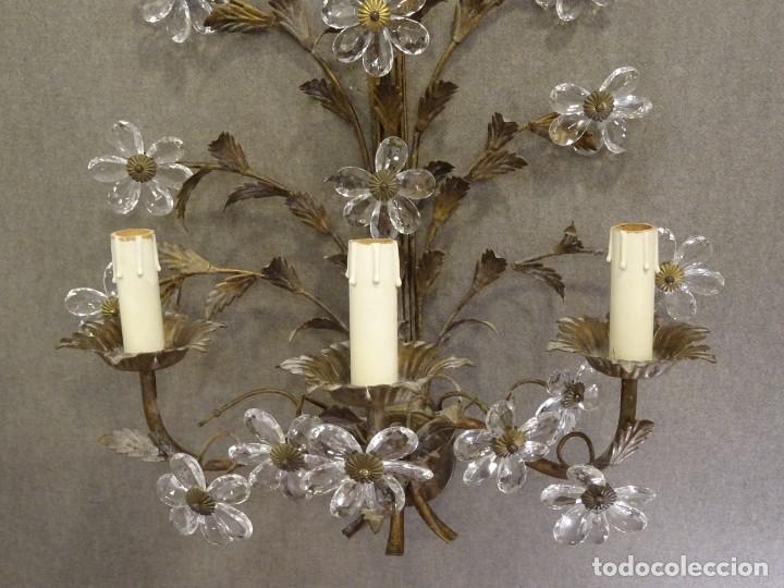 Vintage: Apliques de forja franceses 60s, cristal tallado - Foto 16 - 195323351