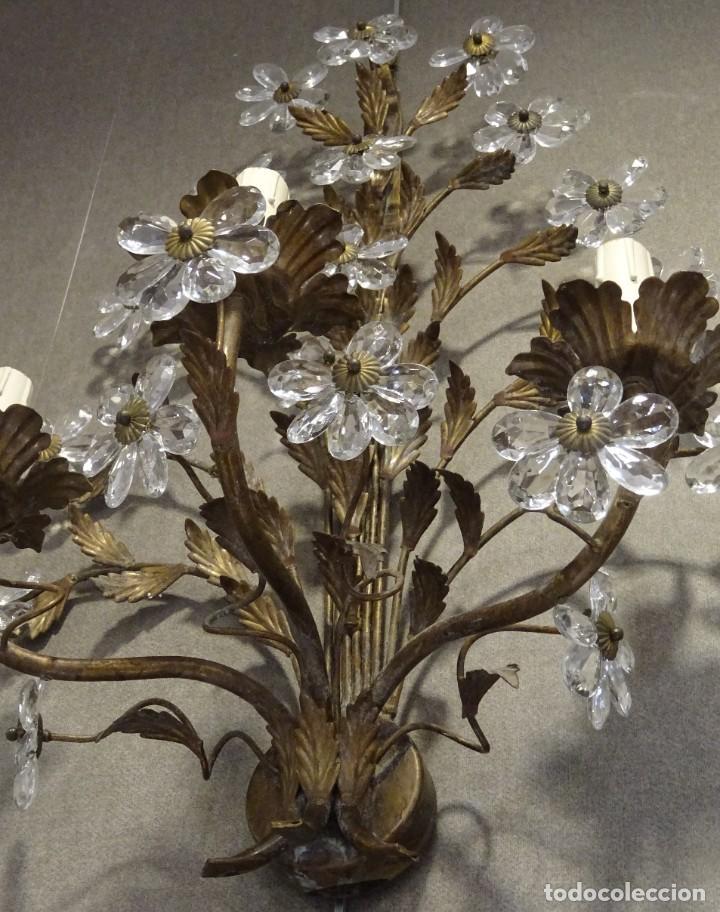 Vintage: Apliques de forja franceses 60s, cristal tallado - Foto 17 - 195323351