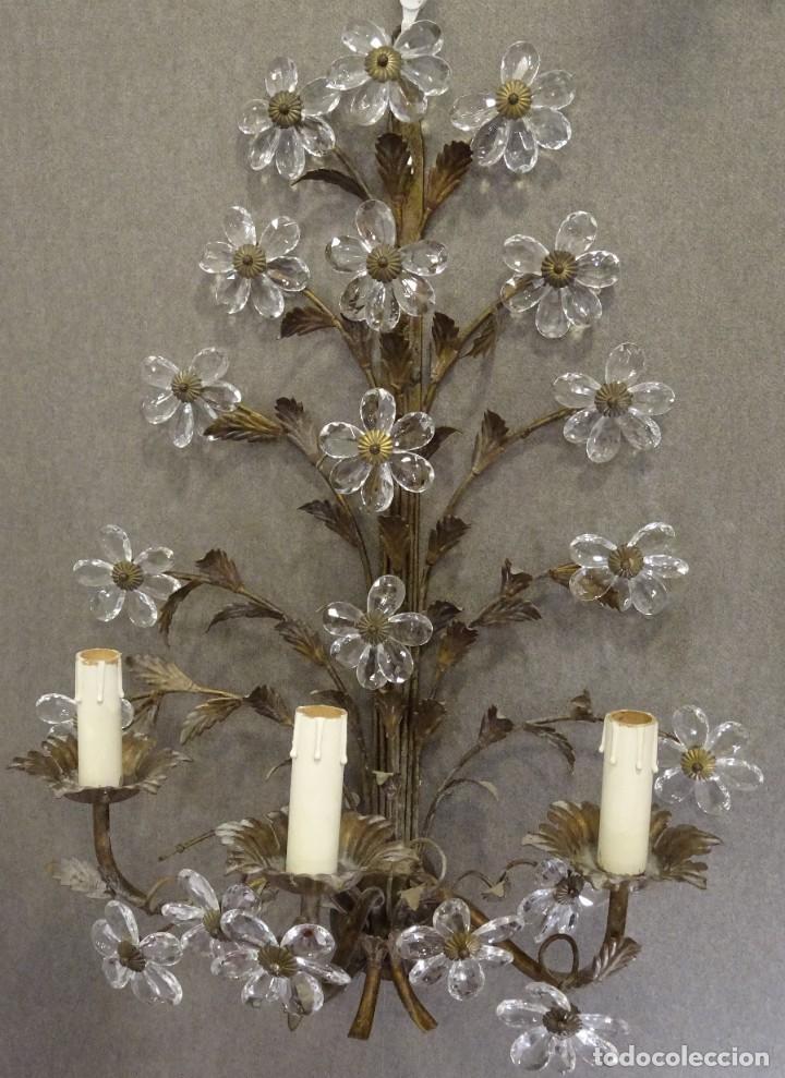 Vintage: Apliques de forja franceses 60s, cristal tallado - Foto 18 - 195323351