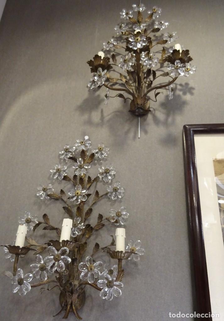 Vintage: Apliques de forja franceses 60s, cristal tallado - Foto 19 - 195323351