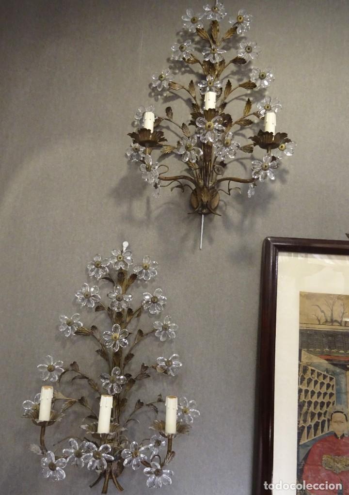 Vintage: Apliques de forja franceses 60s, cristal tallado - Foto 20 - 195323351