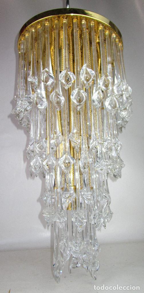 Vintage: GRAN LAMPARA CASCADA CRISTAL MURANO ORIGINAL PAOLO VENINI AÑOS 60 - Foto 4 - 195340940