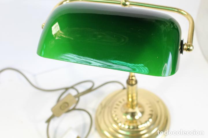 LAMPARA ESCRITORIO - DESPACHO EN METAL Y PANTALLA VERDE DE CRISTAL (Vintage - Lámparas, Apliques, Candelabros y Faroles)