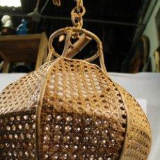 Vintage: LAMPARA DE TECHO DE BAMBÚ. Lote 195354888