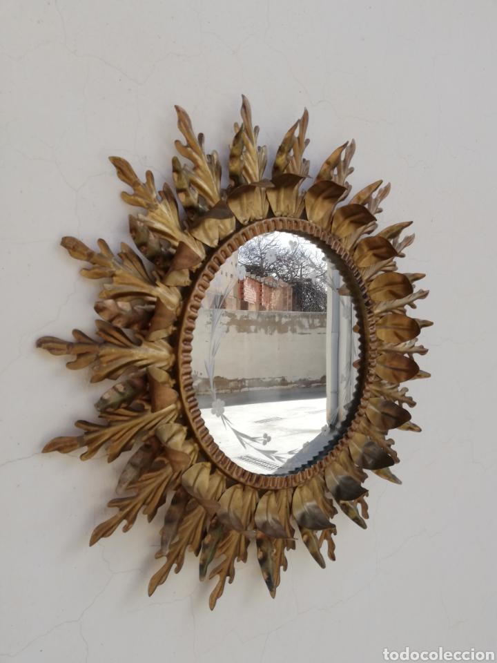 Vintage: Fantastico espejo tipo sol en hierro forjado y cristal tallado vintage años 70 - Foto 4 - 195386797