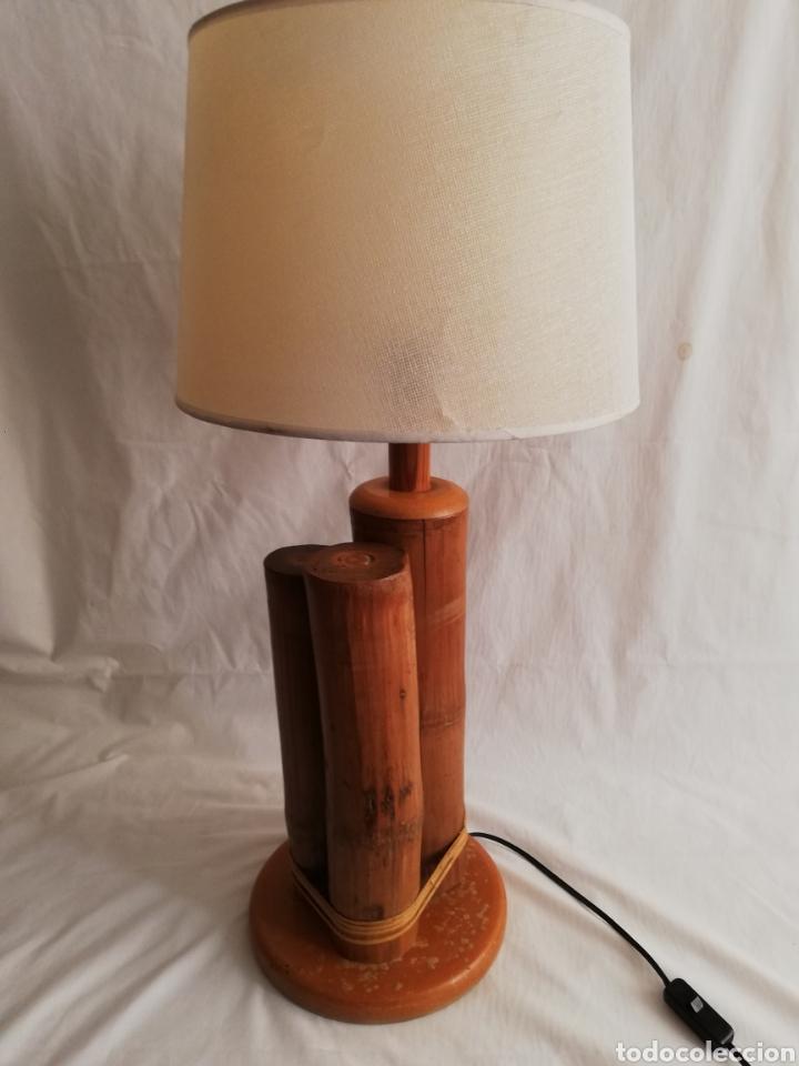 Vintage: Bonita lampara de mesa tronco madera estilo Nordico - Foto 3 - 195387778