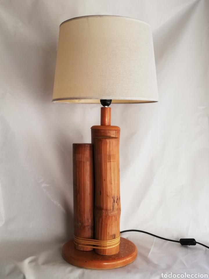 BONITA LAMPARA DE MESA TRONCO MADERA ESTILO NORDICO (Vintage - Lámparas, Apliques, Candelabros y Faroles)