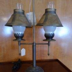Vintage: LAMPARA CON TULIPA DE PIEL. Lote 195461275