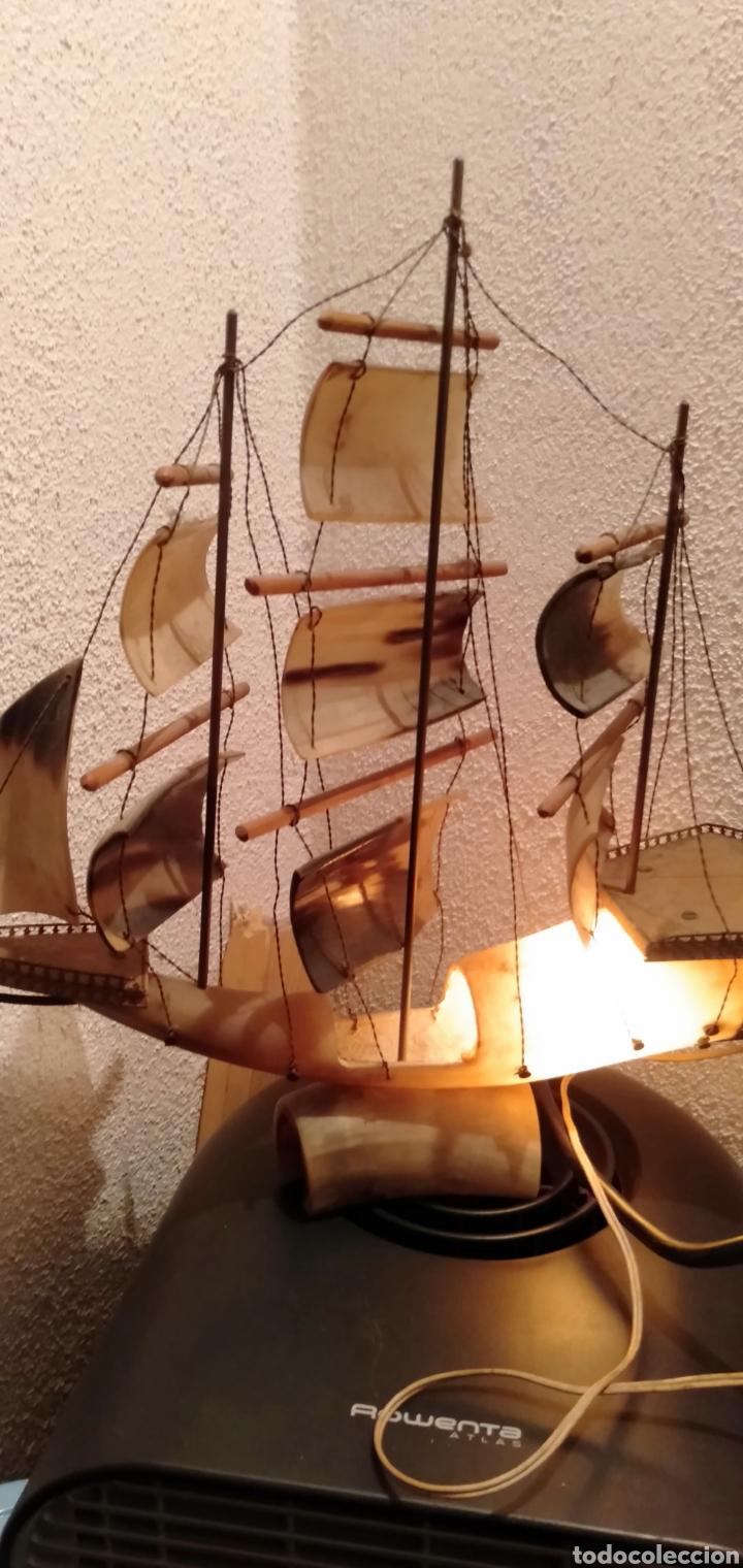 ANTIGUA LAMPARA DE CUERNO DE VACA AÑOS 70 (Vintage - Lámparas, Apliques, Candelabros y Faroles)