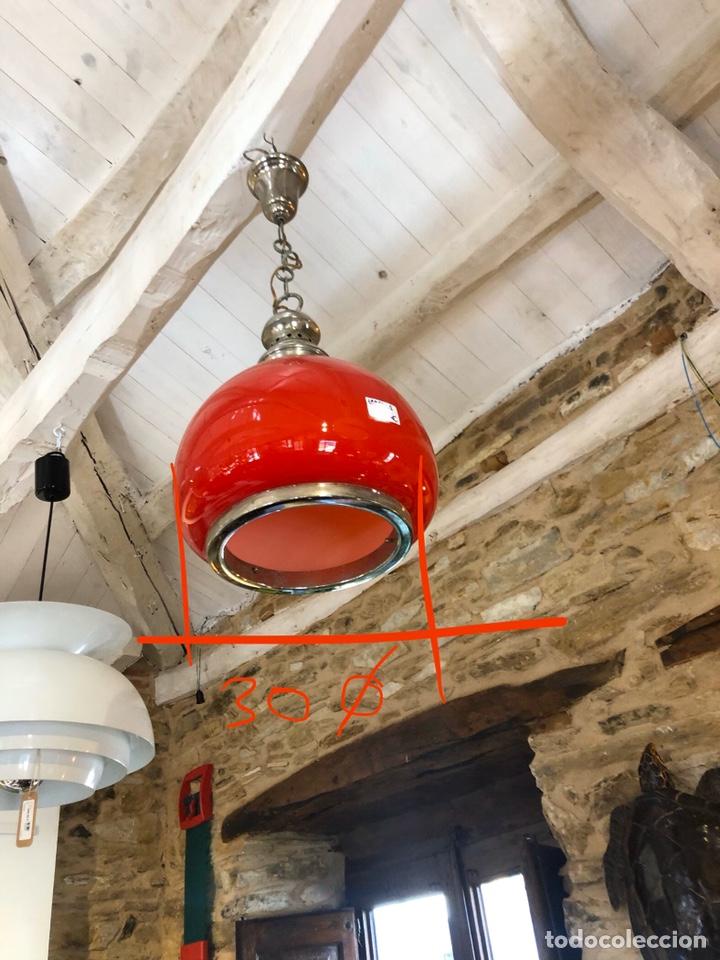 Vintage: Lámpara roja de cristal retro vintage - Foto 2 - 195499977