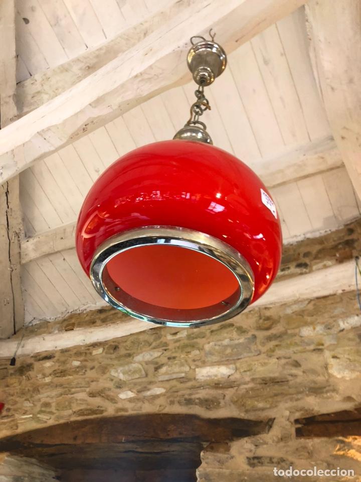 Vintage: Lámpara roja de cristal retro vintage - Foto 3 - 195499977