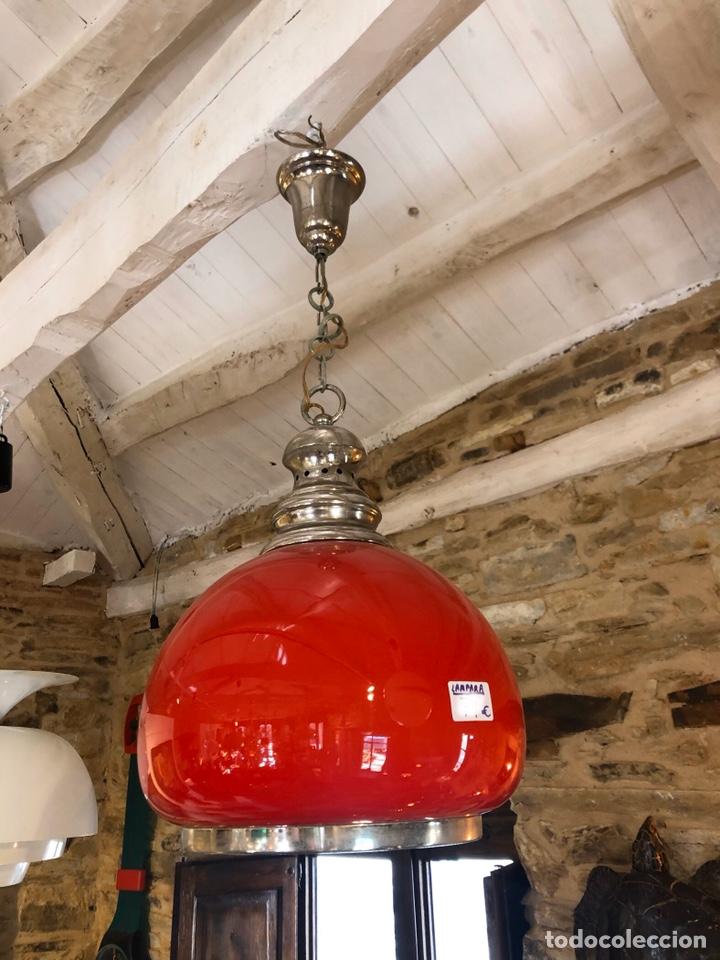 LÁMPARA ROJA DE CRISTAL RETRO VINTAGE (Vintage - Lámparas, Apliques, Candelabros y Faroles)