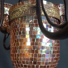 Vintage: PRECIOSA LAMPARA DE MOSAICO DE CINCO BRAZOS Y SEIS LUCES -(19449). Lote 196129356