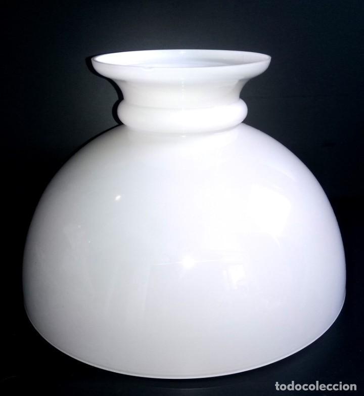 TULIPA QUINQUE CRISTAL OPALINA BLANCA (Vintage - Lámparas, Apliques, Candelabros y Faroles)