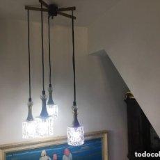 Vintage: ESPECTACULAR LAMPARA DE TECHO VINTAGE 5 PUNTOS DE LUZ CRISTAL DE MURANO. Lote 197176296