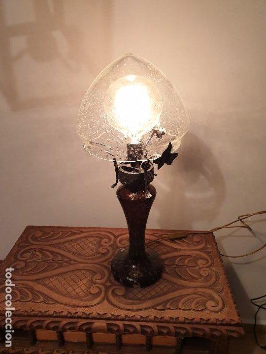 LAMPARA SOBREMESA CRISTAL MURANO MODERNISTA (Vintage - Lámparas, Apliques, Candelabros y Faroles)