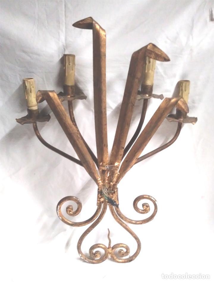 Vintage: Aplique Pared Espigas patinado dorado, lampara Forja años 60, buen estado. Med. 44 x 55 cm - Foto 3 - 198510655