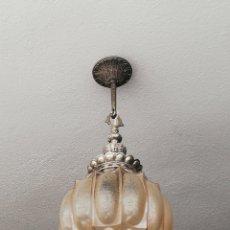 Vintage: ESPECTACULAR LAMPARA DE TECHO ART DECO EN METAL PLATEADO Y CRISTAL REPUJADO VINTAGE AÑOS 60. Lote 202256936