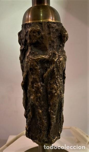 Vintage: Lámpara de mesa con pie escultura de bronce. - Foto 5 - 202962747