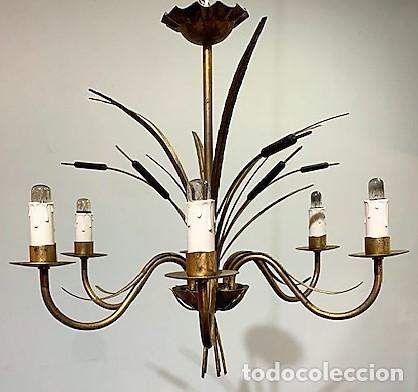 LÁMPARA DE TECHO DE HIERRO FORJA (Vintage - Lámparas, Apliques, Candelabros y Faroles)