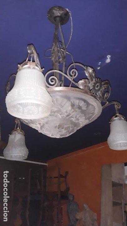 LAMPARA DE TECHO ART-DECO AÑOS 30 EN CRISTAL Y FORJA,FUCIONANDO (Vintage - Lámparas, Apliques, Candelabros y Faroles)