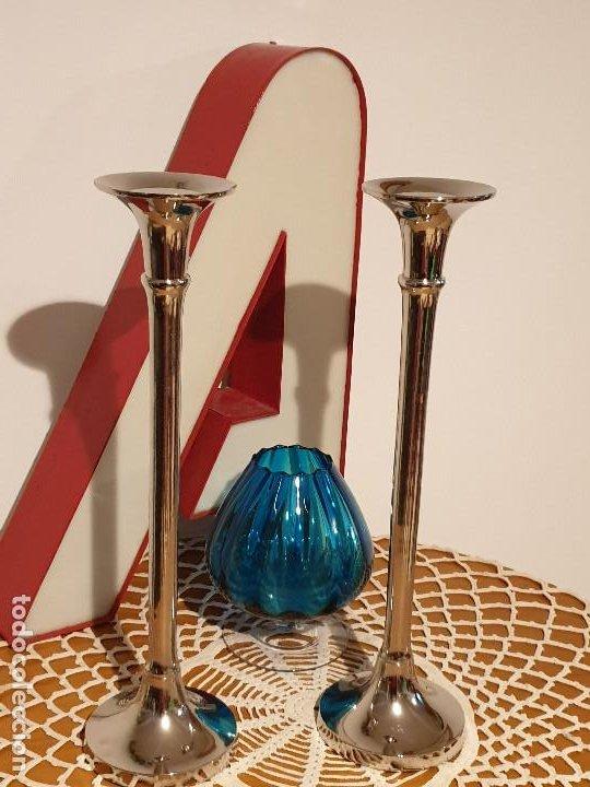 PORTAVELAS CANDELABROS EN METAL MUY GRANDES (Vintage - Lámparas, Apliques, Candelabros y Faroles)