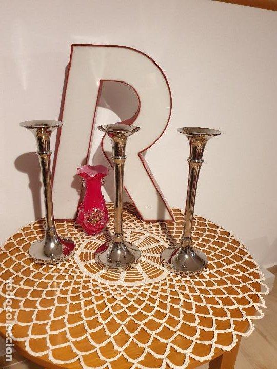 PORTAVELAS CANDELABROS EN METAL (Vintage - Lámparas, Apliques, Candelabros y Faroles)