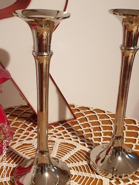 Vintage: PORTAVELAS CANDELABROS EN METAL - Foto 11 - 205199306