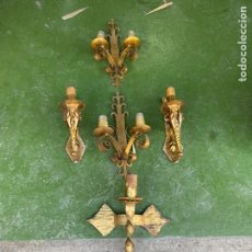 Vintage: LOTE DE 6 APLIQUES SIMULANDO VELAS. 40CM DE LARGO APROX.. Lote 205403532