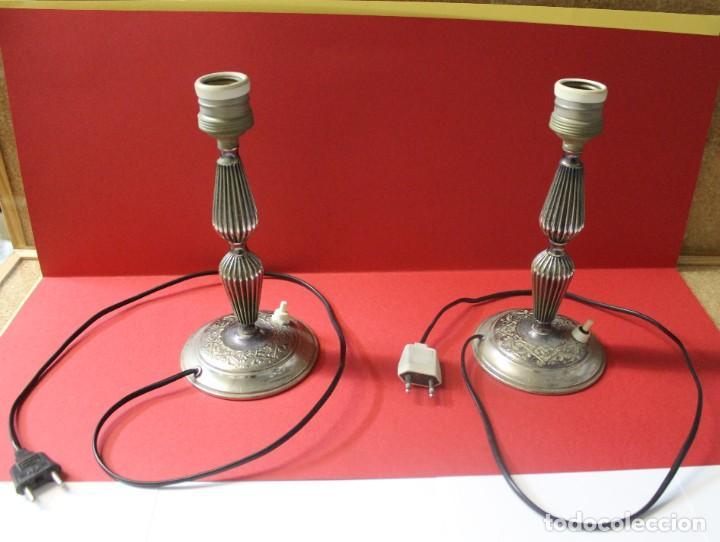 PAREJA PIE DE LAMPARA MESITA DE NOCHE VINTAGE (Vintage - Lámparas, Apliques, Candelabros y Faroles)
